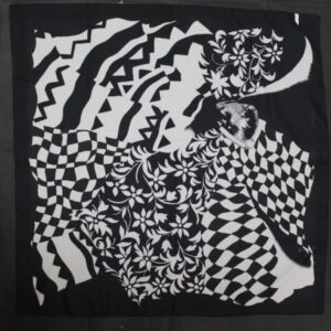 foulard vintage noir blanc imprime frip in shop