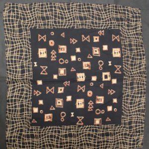 foulard vintage noir imprime beige orange frip in shop