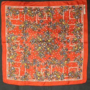 foulard vintage rouge fleur pierre cartier frip in shop