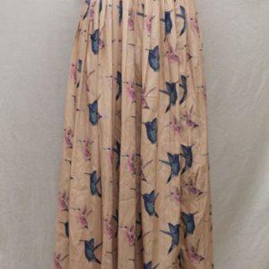 jupe vintage longue rose pale oiseaux frip in shop