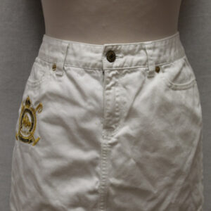 mini jupe jean blanche ralph lauren frip in shop