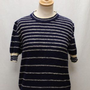 pull vintage manches courtes maille bleu marine rayures frip in shop