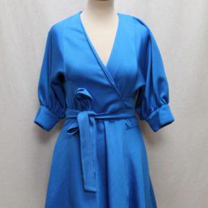robe portefeuille bleu electrique frip in shop