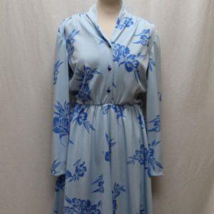 robe vintage a fleurs bleu ciel bleu electrique frip in shop