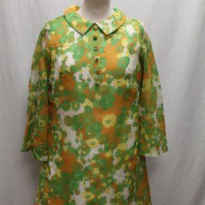robe vintage a fleurs vertes blanches oranges frip in shop