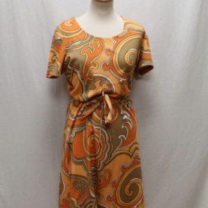 robe vintage annees 60 orange marron frip in shop