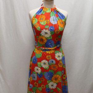 robe vintage dos nu rouge a fleurs frip in shop