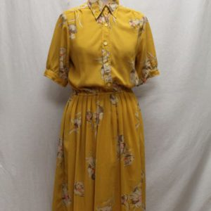 robe vintage jaune moutarde a fleurs frip in shop
