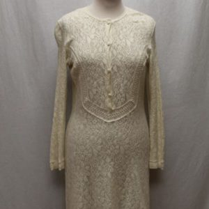 robe vintage manches longues crochet blanc casse frip in shop