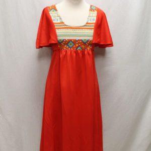 robe vintage rouge col esprit azteque frip in shop
