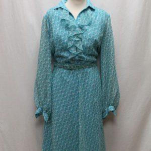 robe vintage voile volants a fleurs bleues lurex frip in shop