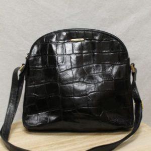 sac vintage bandouliere cuir noir croco frip in shop