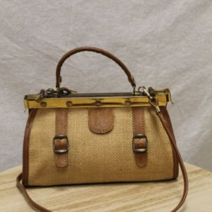 sac vintage cuir marron et rotin tresse frip in shop