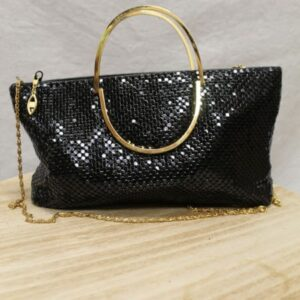 sac vintage sequins noirs anse metal dore frip in shop
