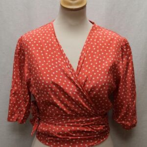 top vintage court cache coeur rose pois blanc frip in shop