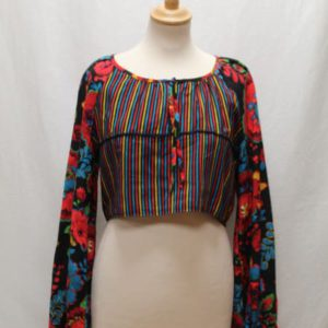 top vintage cropped manches longues fleurs frip in shop
