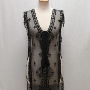 tunique noir voile dentelle perles frip in shop