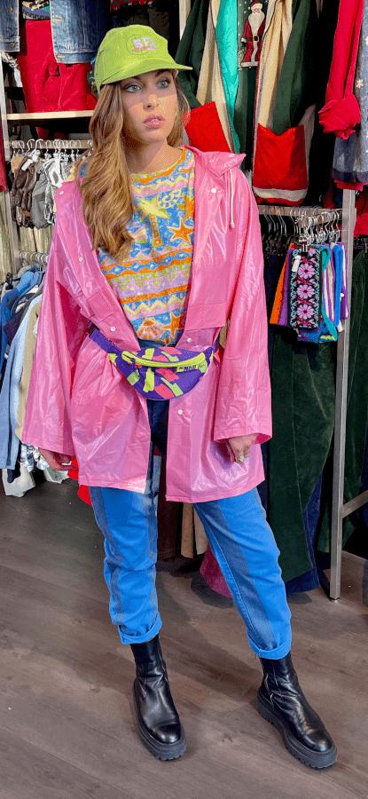 veste coupe vente vintage vinyle rose tenue frip in shop