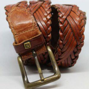 ceinture en cuir brun tresse frip in shop