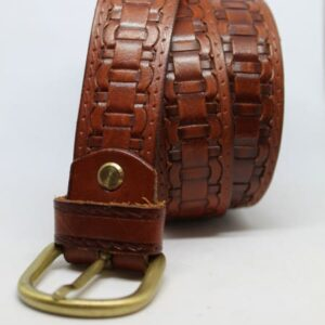 ceinture en cuir marron detail tresse frip in shop