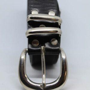 ceinture en cuir noir boucle argentee frip in shop