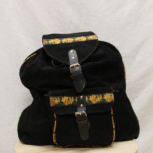 sac a dos vintage daim noir fleurs frip in shop