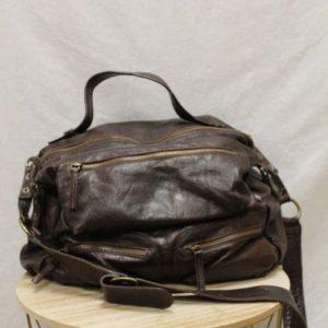 sac cartable cuir marron fonce frip in shop