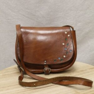 sac vintage bandouliere cuir marron fleurs peintes frip in shop