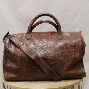 sac vintage cuir marron broderie frip in shop