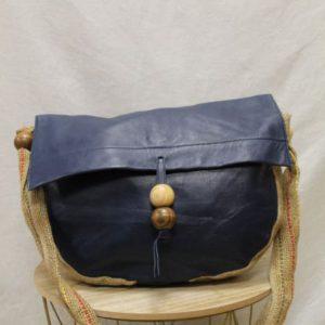 sac vintage en cuir bleu marine et jute frip in shop