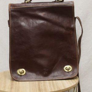 sacoche vintage cuir brun frip in shop