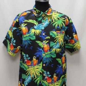 chemise noire jungle perroquets frip in shop