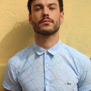 chemise vintage bleu ciel lacoste frip in shop