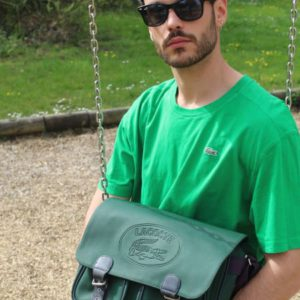 sacoche cuir vert sapin lacoste frip in shop