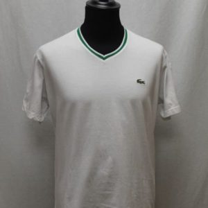 t-shirt blanc col v lacoste frip in shop