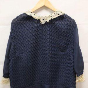 chemisier voile gaufre bleu marine col crochet frip in shop