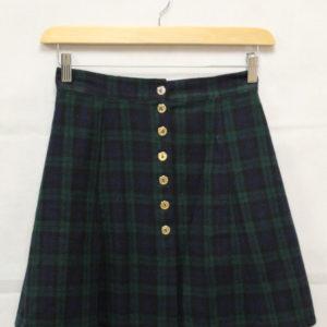 jupe courte tartan bleu vert boutons frip in shop