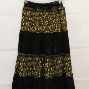 jupe longue en velours noir et fleurs sequins frip in shop