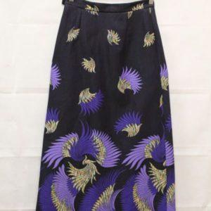jupe longue inspiration japonisante oiseaux frip in shop