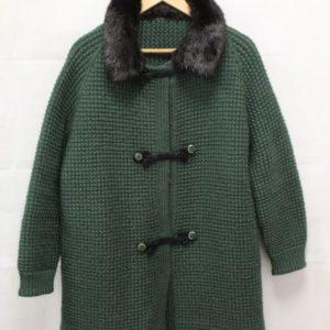 manteau tricot vert sapin col fourrure frip in shop