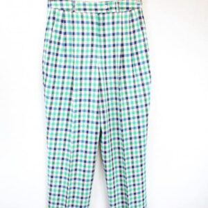 pantalon carreaux blancs vers bleus frip in shop