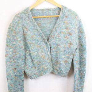 gilet cropped laine bleue frip in shop
