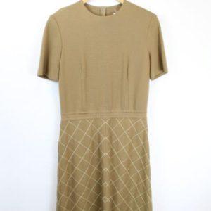 robe manche courte marron beige losanges frip in shop