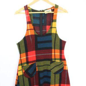 robe sans manches motif tartan orange frip in shop