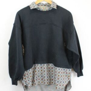 sweat noir empiecement chemise frip in shop